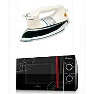 DawlanceMD7 - Microwave Oven With free Heavy Duty Iron - Black & White