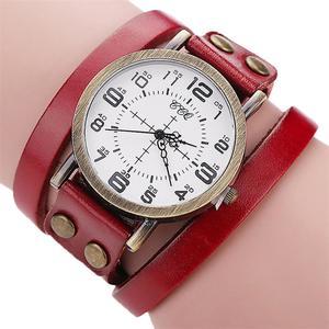 CCQ Brand Vintage Cow Leather Bracelet Watch Men Women Wristwatch Quartz RD