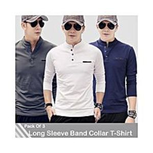 AybeezPack Of 3 Band Collar Long Sleeves T-Shirts For Men