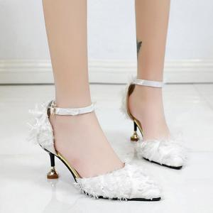 MissFortune Women Pointed Suede High Heels Wild Single Shoes Stiletto Hollow Female Sandals