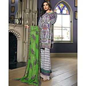 Asim JofaAsh White Embroidered Unstitched Luxury Lawn 3Pcs Suit for Women