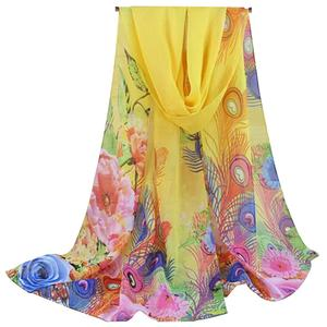 Boyouyou 24 Colors Fashionable Women Long Chiffon Scarf Printed Pattern Sunscreen Beach Shawl Scarf