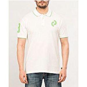 DenizenWhite Cotton Number Polo Shirt for Men Special Online Price