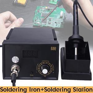 2 in 1 Soldering Iron Station Variable Temperature Stand Air Gun Rework Digital
