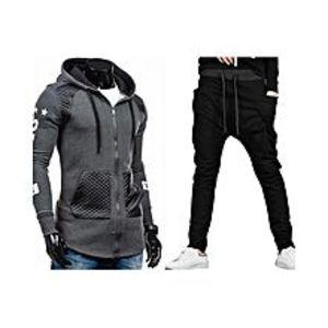 AybeezBundle Of 2 Grey Leather Patch Hooded Jacket & Side Pocket Trouser For Men