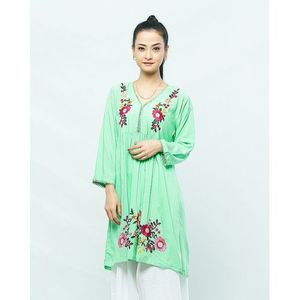 Sea Green Flower Embroidered Kurti For Women