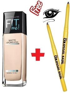 Maybelline New York Fit Me Matte + Poreless Foundation (112 Natural-30ml) With Colossal Kajal
