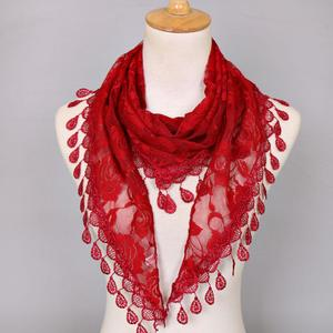 Women Lace Tassel Rose Floral Hollow Scarf Shawl Lady Wraps Scarves