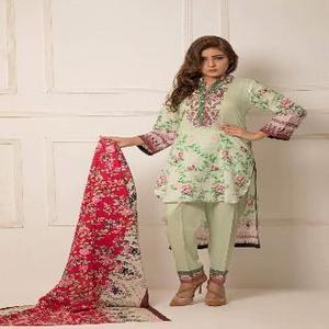 Multicolour Lawn Printed Unstitched Suit - Rangreza 2019 Volume 1
