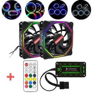 【Free Shipping + Flash Deal】2pcs RGB LED Quiet Computer Case PC Cooling Fan 120mm +Remote Control Adjustble