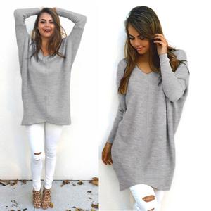 Womens Sexy Casual Long Sleeve Jumper Sweaters Coat Blouse