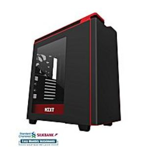 NZXTH440 STEEL Mid Tower Case -  2nd Gen FNv2 Fans - USB-3.0 - Matte Black & Red