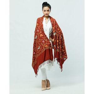 Rust Kashmiri Embroidered Shawl for Women