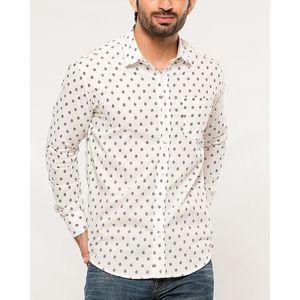 Denizen White Cotton Dotted Shirt for Men