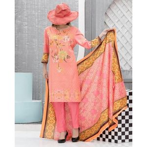 Sweet Pink Blue Floral Printed Lawn Suit For Women - 3 Pcs