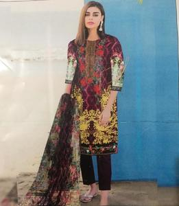 Embroidered Multicolour Sana Safina Lawn suit for womens - 3 piece