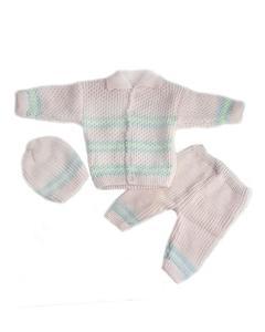 3 Pcs Pink Collar Sweater Set for Newborn
