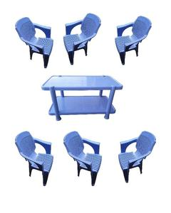(Boss) Set Of 6 Plastic Chairs And Plastic Table - Blue
