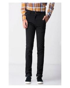 Black Cotton Chino Pant For Men