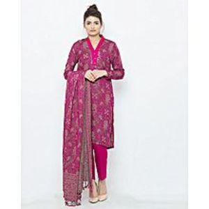 Blossom Magenta Jacquard Pure Kashmiri 3-Piece Suit With Shawl - WS-43- sample