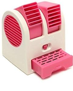 Unbranded Desktop Dual Bladeless Portable Adjustable Angles Scented Air Conditioning Air Cooler USB Electric Mini Fan (Pink)