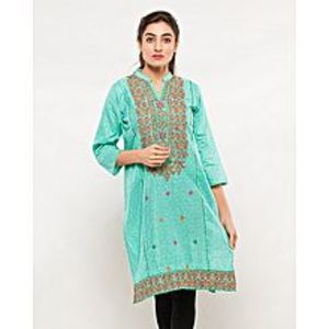 FISH Skyblue Embroidered Kurta