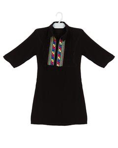 Black Malai Linen Embroidered Kurta For Girls