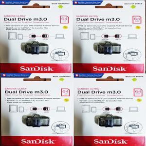 SanDisk Ultra Dual Drive m3.0 / Flash Drive / Sandisk OTG & USB Flash Drive 64 GB WIth 5 Year Brand Warranty Art # Sddd3-064G-G46 (4 Pcs)