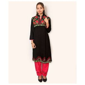 Black Linen Embroidered Kurti For Women