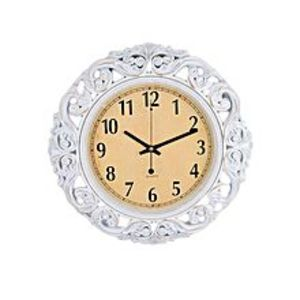 Asaan Buy Pvc High Quality Silent Non Ticking Home Office School Quartz Wall Clock - White Antique Flower - 17X17""