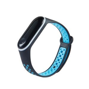 Dual Color Waterproof Silicone Replacement Wrist Strap Watch Band for Xiaomi Mi Band 3 Smart Bracelet Miband 3 Mi 3  Black Blue