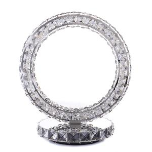 Modern Round Crystal Ring LED Table Lamp Diamond Desk Reading Light Decor