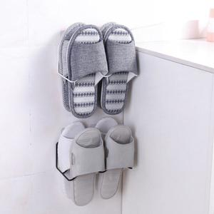 Home Double-layer Iron Bathroom Slippers Shelf Wall-mounted Shoe Storage Rack