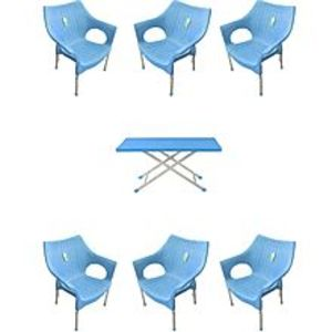 CHIEF(Boss) Set Of 6 Rattan Plastic Chairs And Plastic Table - Blue