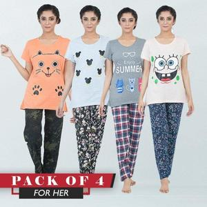 Pack Of 4 Half Sleeves T Shirts With Matching Trousers