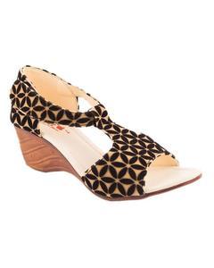 AEYS - Black Velvet heel sandal For Women