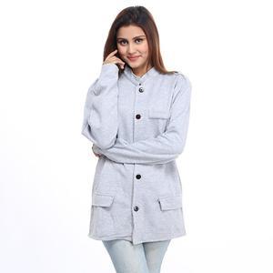 Fleece Mandarin Coat For Women Grey