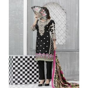 Black & White Floral Printed Lawn Suit For Women - 3 Pcs