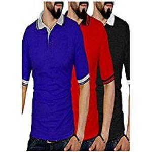 TJ FASHIONPack Of 3 Polo T-shirts For Men