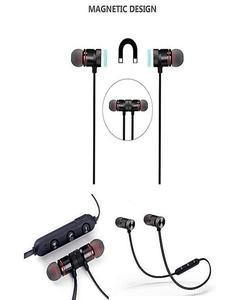 Magnetic Wireless Bluetooth Headphones Sports Sound Stereo Penetrating Bass Earphones / Headphones / Handsfree - Black