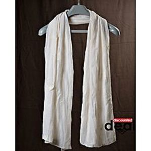 Discounted deals White Cotton Embroidered Stole For Women
