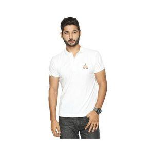 White Cotton Pique Polo Shirt for Men