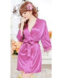 Clickbus Collection Pink Rayon Open Front Belted Nightgown For Women