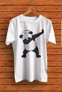 Panda Casual Cotton Round Neck Best Printed Full Sleeve  T Shirt White