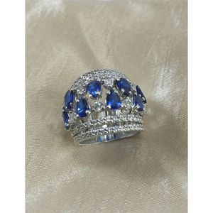 Blue Sapphire Stone 925 Silver Ring For Women