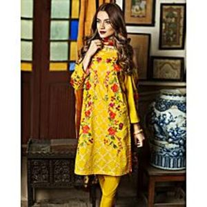 Nimsay Mustard Unstitched 3 Pcs Shirt Embroidered Lawn With Trouser  And Tissue Silk Dupatta