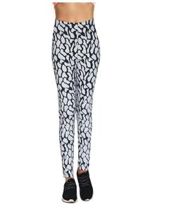 Black Ribbed Tights For Women printed