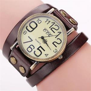 CCQ Brand Vintage Cow Leather Bracelet Watch Men Women Wristwatch Quartz BW