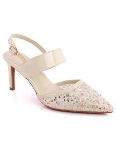 """Hani"" Designed Net Sequins Adorned Closed Toe Stiletto Heel Sandals   L31282"
