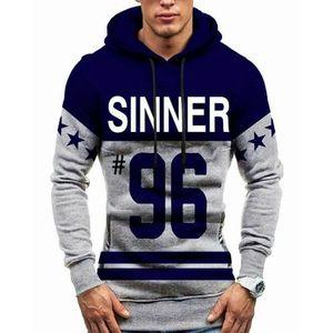 Navy Blue Sinner Fleece Printed Hoodie for Men